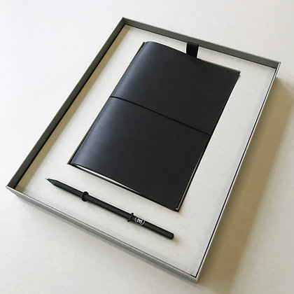 Leather notebook box - black