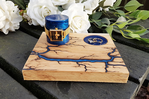 Watch Holder and Ring / Cufflink Tray With Lichtenberg and Resin Design! Fully C