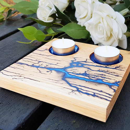 Wooden Solid Oak Tealight Holder With Lichtenberg and Resin Design
