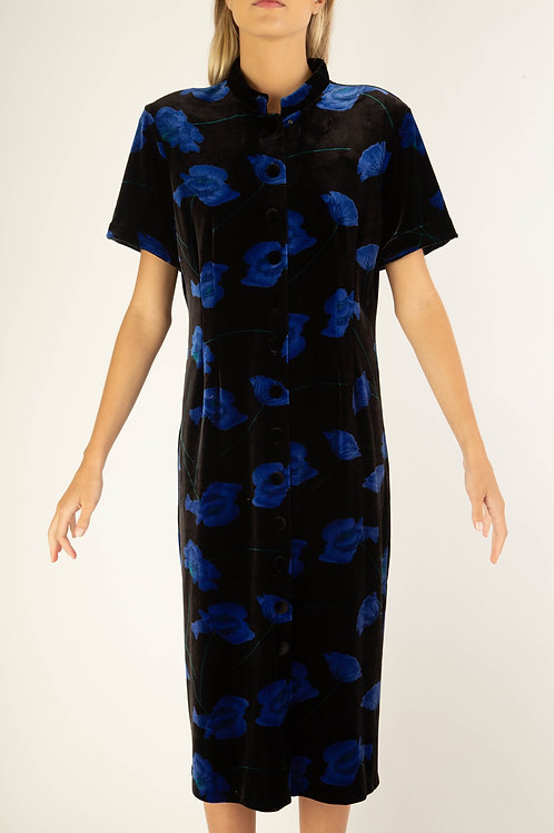 Vestido veludo preto flower azul