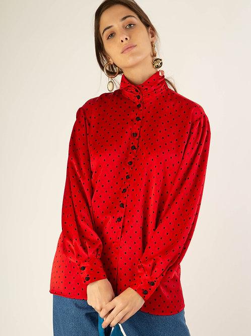 Camisa seda Louis Feraud pois vermelho