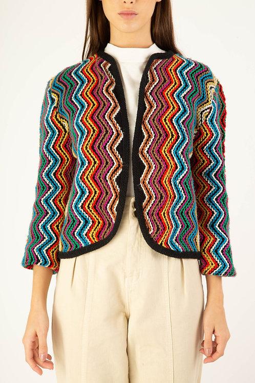 Casaco bordado Chevron multicolor