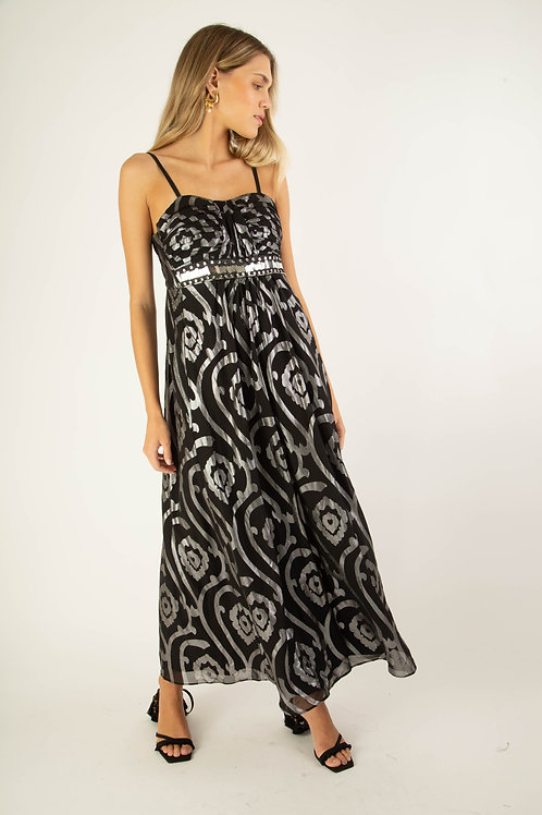 Vestido longo plissado preto e prata