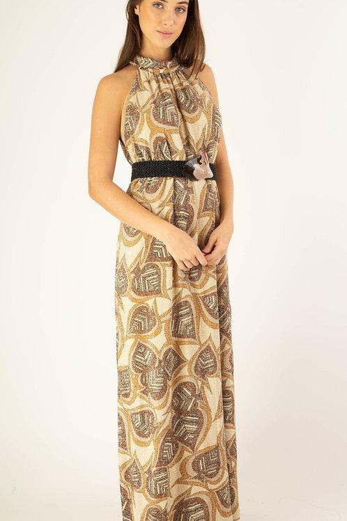 Vestido lurex palm estampado