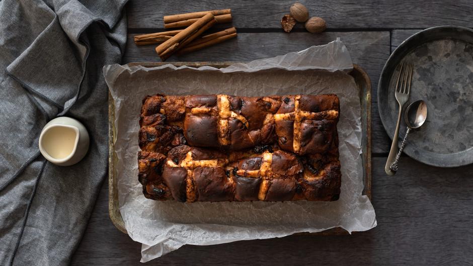 Hot Cross Bun Bread Pudding