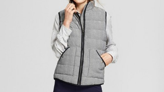 Women's Herringbone Puffer Vest - A New Day™ Gray
