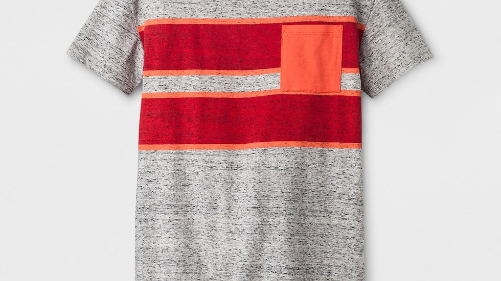 Boys' Striped Tee - Gray Mist - Size L (12-14)