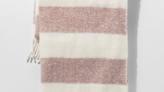Stripe Faux Mohair Throw Blanket