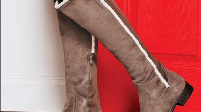 CUSHION WALK FAUX SUEDE KNEE HIGH STRETCH BACK BOOT