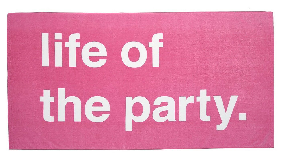 """Pink """"Life of the Party"""" Beach Towel 32"""" x 62"""" Very Soft"""