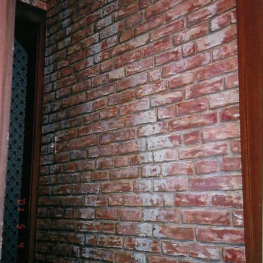 Trompe L'oeil brick wall