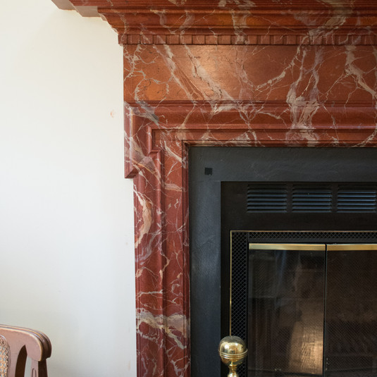 Red Marble fireplace mantle