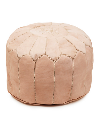 MOROCCAN LEATHER POUFFE Natural Beige