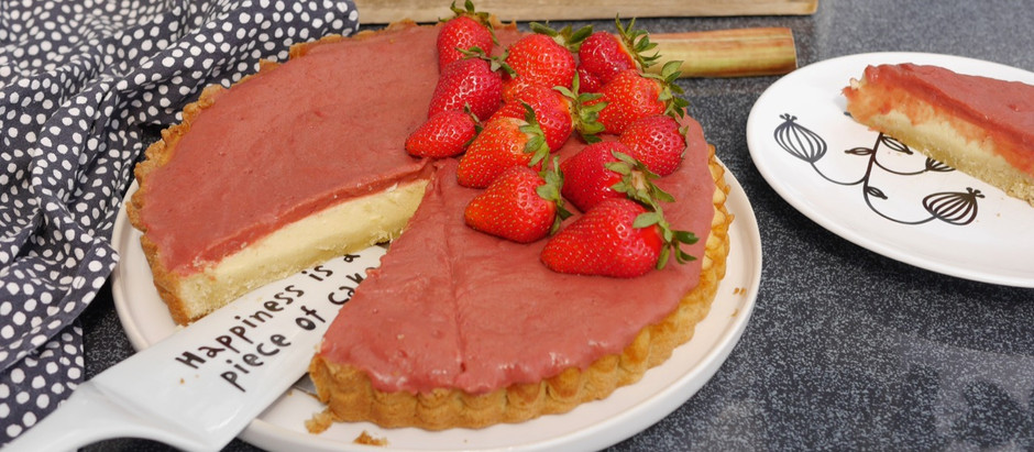 Rhabarber-Erdbeer-Cheesecake-Tarte