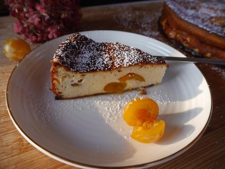 schneller Käsekuchen ohne Boden mit Mirabellen