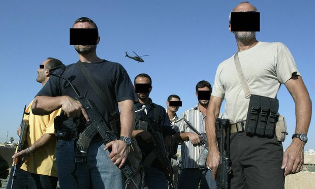 'Misfits who can't or won't fit into civilian life' … Iraqi and foreign members of a private security company in Baghdad in 2007. Photograph: Patrick Baz/AFP/Getty Images