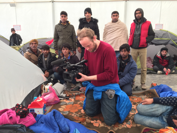 Filming at refugee camp