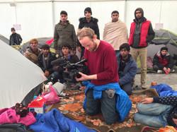Filming at refugee camp