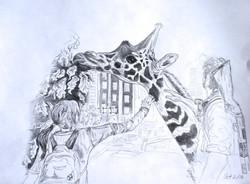 Ellie and Joel with Giraffe