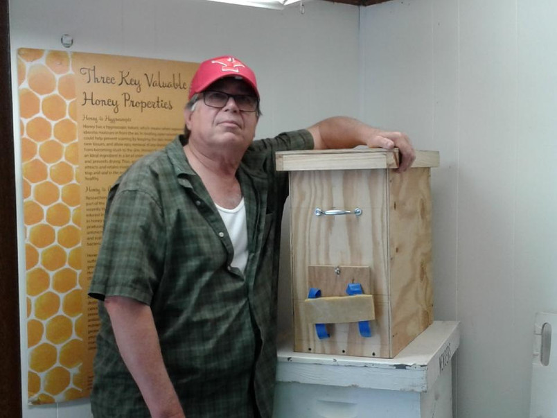 Our resident Beekeeper John V and his Swarm Box