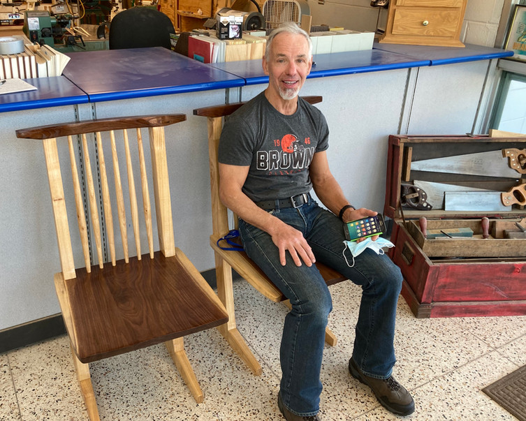 Johnny and his Conoid Chair replicas
