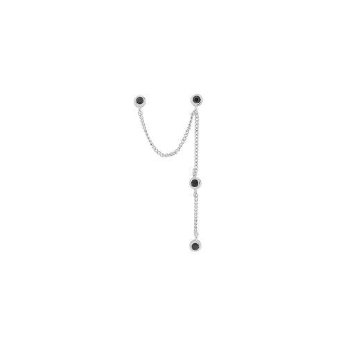 Single Duo Mystic Drape Chain Earring Silver