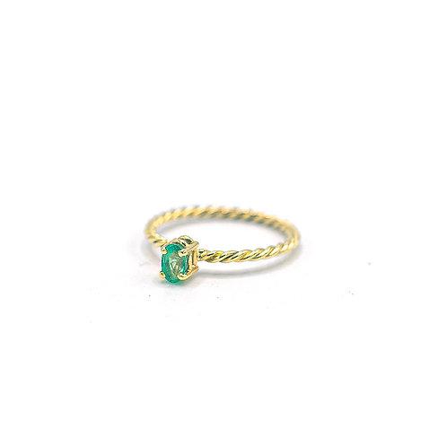 Tiny emerald twist ring