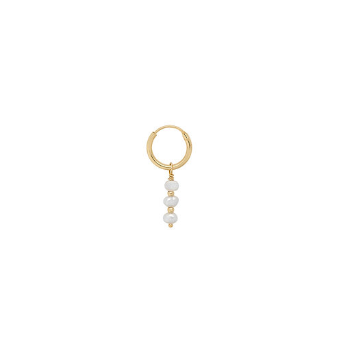 Single Pearly Ring Earring Goldplated
