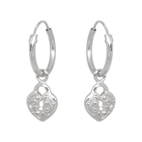 Heart lock hoops in sterling silver