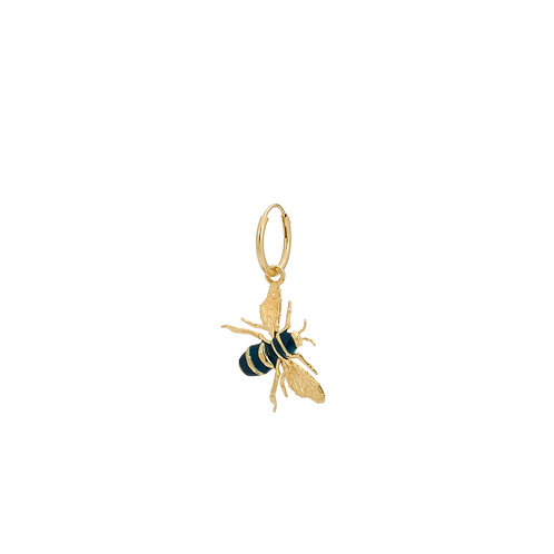 Single Honey Bee Ring Earring Goldplated