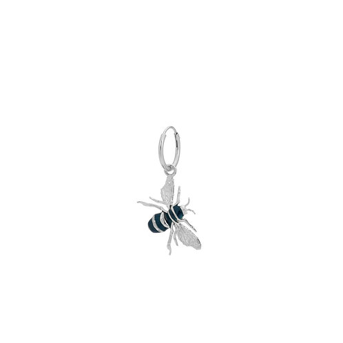 Single Honey Bee Ring Earring Silver