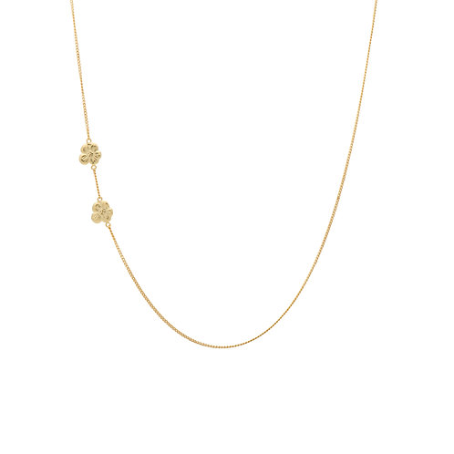 Two Soul Flowers Necklace Goldplated