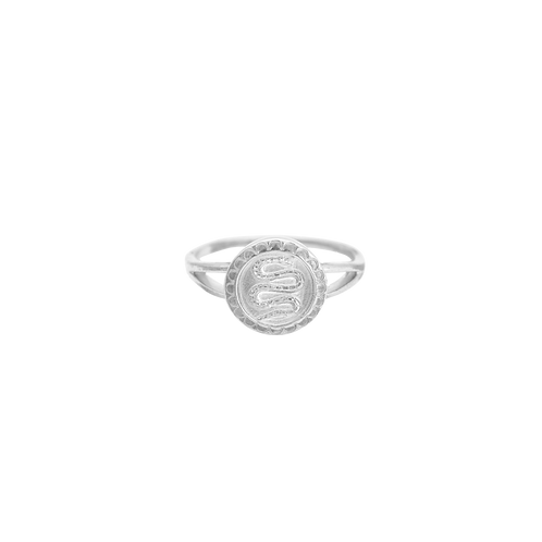Serpent Coin Ring Silver