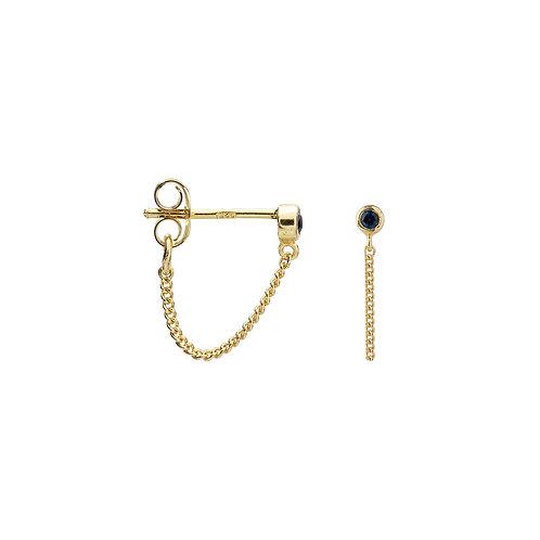Single Zirconia Stud Chain Earring Navy Goldplated
