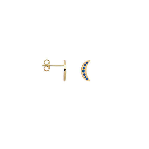Single Nightfall Stud Navy Goldplated