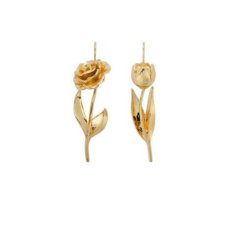 Wild Flower Dangle Earrings Goldplated