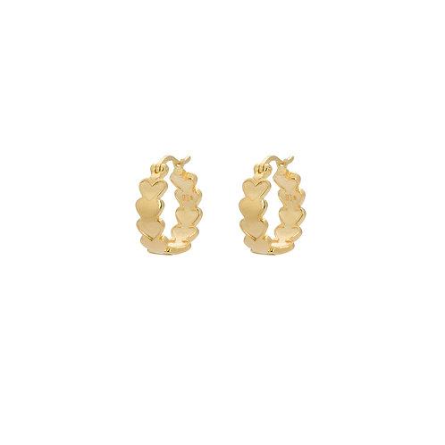 Amor Plain Ring Earrings Goldplated