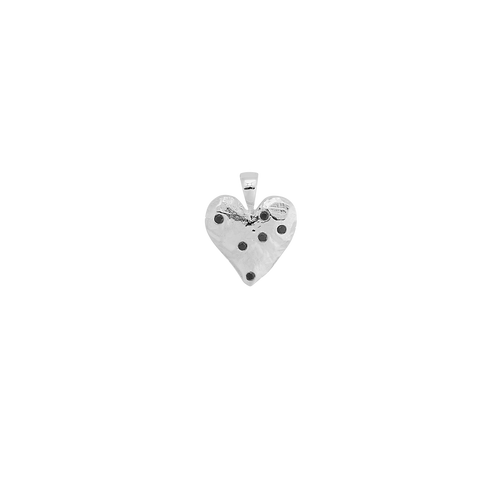 Heart Necklace Charm Brass Silverplated