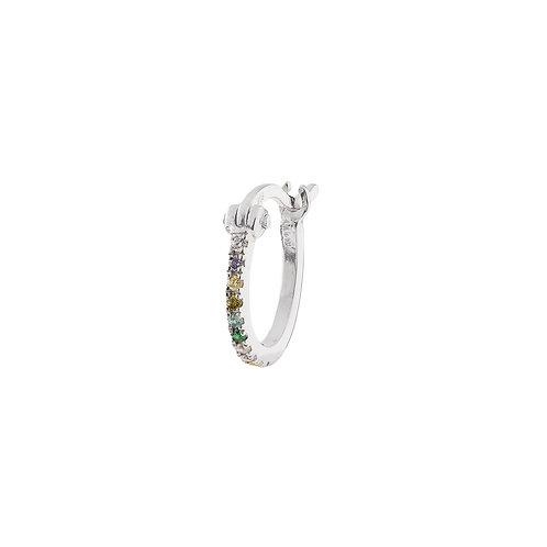 Single Zirconia Show Ring Earring Silver