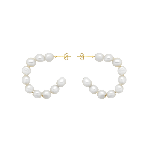 Pearl Hoop Earrings Goldplated