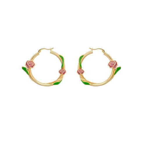 Tangled Rose Hoop Earrings Goldplated