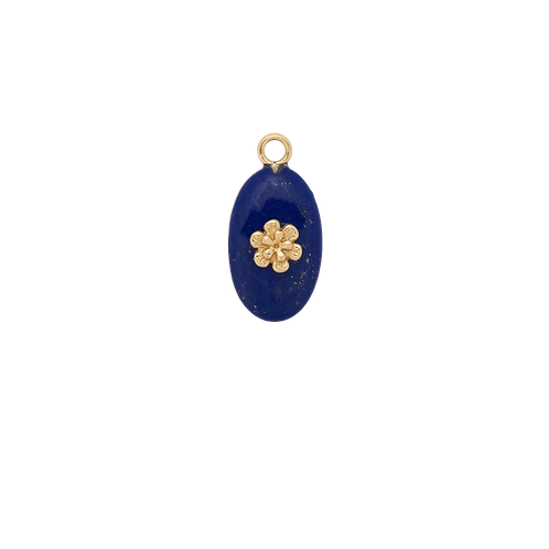Lapis Bloom Earring Charm 14K