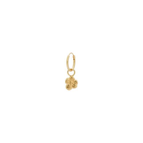 Single Soul Flower Ring Earring Goldplated