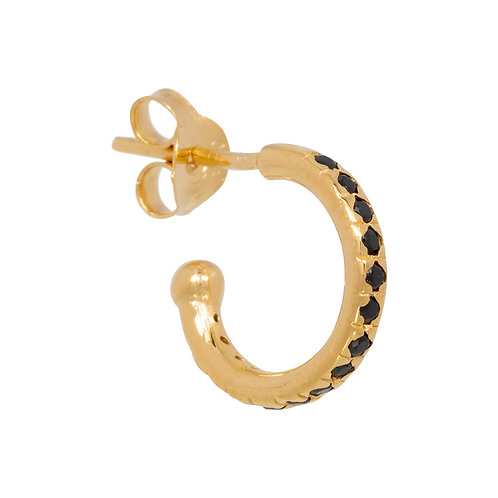 Mix & Match single black zirconia hoop in gold plated sterling silver