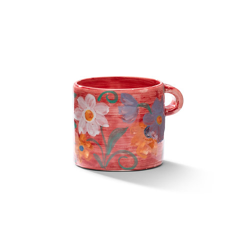 Floral Mug in Jazzy Red