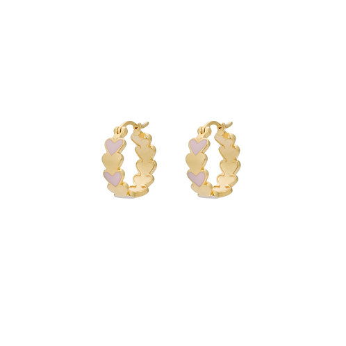Amor Coloured Ring Earrings Goldplated