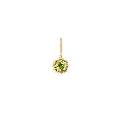 August Birthstone Necklace Charm Peridot 14K
