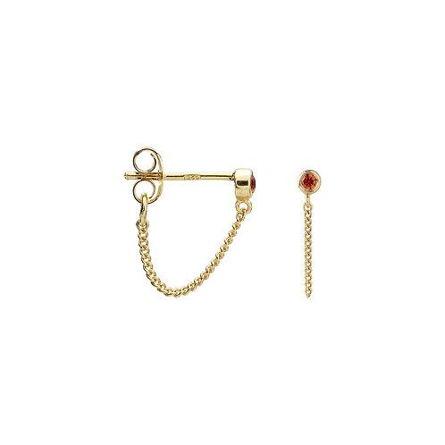 Single Zirconia Stud Chain Earring Orange Goldplated