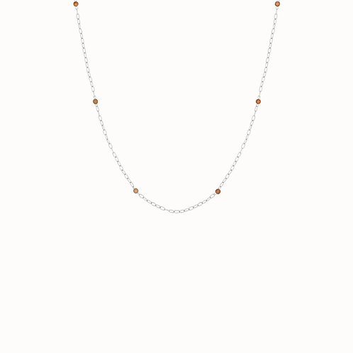 Peach Moonstone Chain Necklace