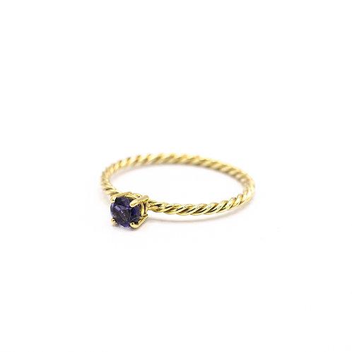 Tiny iolite twist ring